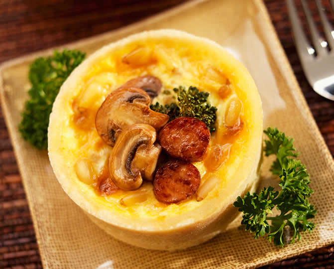 Broccoli Quiche with Mushrooms and <strong>Sausage</strong>