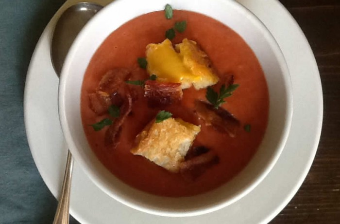Roasted Tomato Soup with <strong>Bacon</strong> and Grilled Cheese Croutons