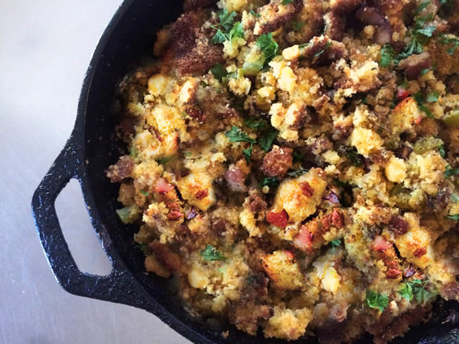 Blissed-out BACON and Cornbread Stuffing