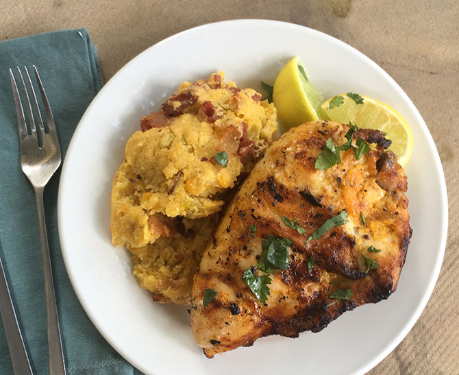 Grilled Mexican Style Chicken with Cheesy-Bacon Spoonbread